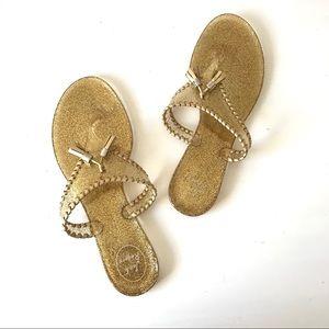 Jack Rogers Alana gold sparkle jelly thong sandal
